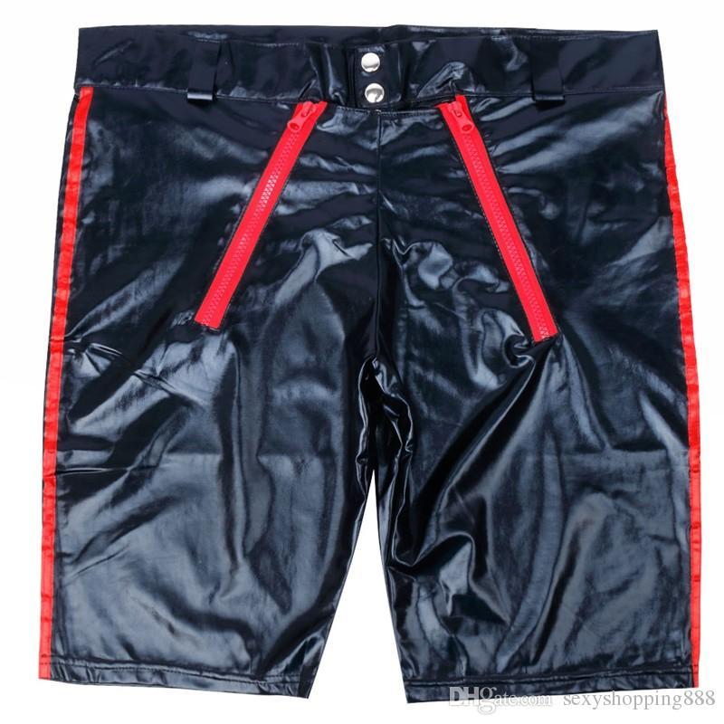 S-XXXL Plus Size Men Sexy Lingerie PVC Leather Short Trousers Night Club Tight Pants Gays Erotic Costume Male Flirt Clothing