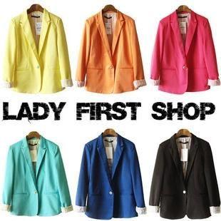 Moda Candy Color Blazer 2016 Primavera Slim Giacca gialla Abito da donna E Soprabito corto Blaser Feminino Chaquetas Mujer