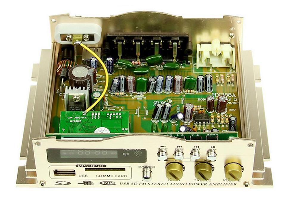 HONGXING HX-288AS Amplificador 40Wx2 12V 2 canales Hi-Fi Amplificador estéreo para auto Radio FM Radio AMP Altavoz y control remoto con adaptador de corriente