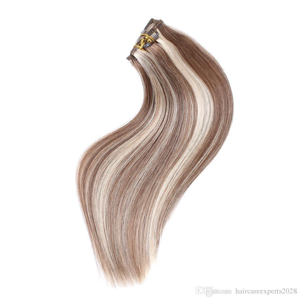 / set 100g châtaigne brune mettre en évidence clip blonde dans les extensions de cheveux double trame piano 6/613 clip dans les extensions de cheveux humains