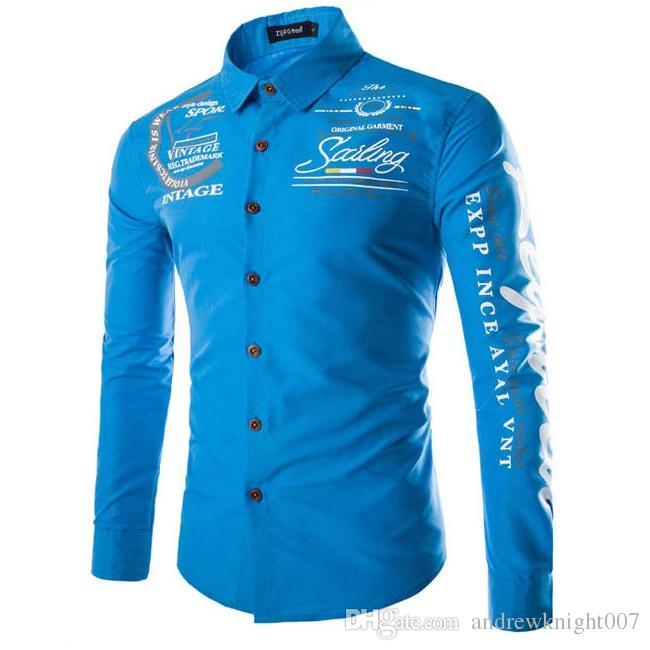 Новая весна Мужские рубашки с длинными рукавами бизнес повседневная Pirnt письмо рубашка блузка топы фитнес Бесплатная доставка DK9950CS