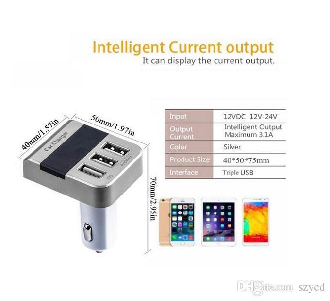 5 V / 3.1A Schnellladung Portable 3 Ports USB Auto Ladegerät Adapter, Smart LED Digitalanzeige Voltmeter für iPhone 7/6 S / 6 S