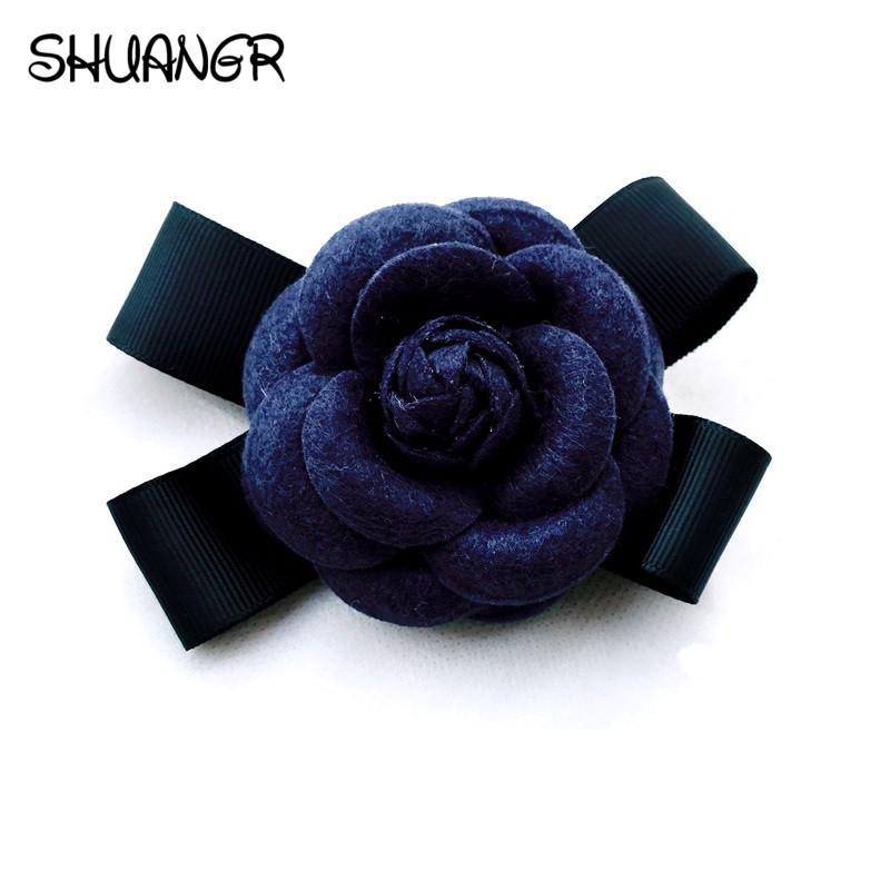SHUANGR Fashion Women Quality Faux Wool Fabric Camellia Flower Bowknot Brooches Handmade Costume Accessories Big Brooches