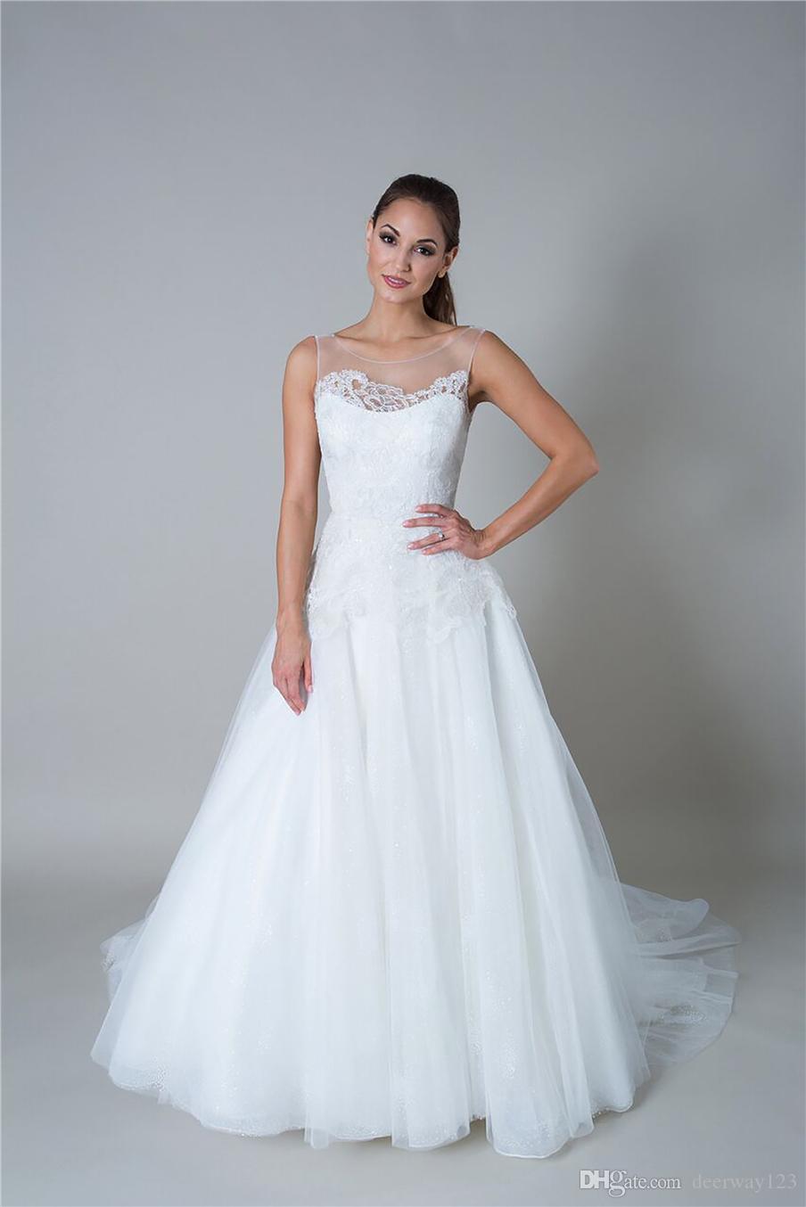 Ilusión Barco Cuello blusa e ilusión baja, v- Volver tirantes Capas sobre capas de tul blanco vestido de novia Vestidos de novia