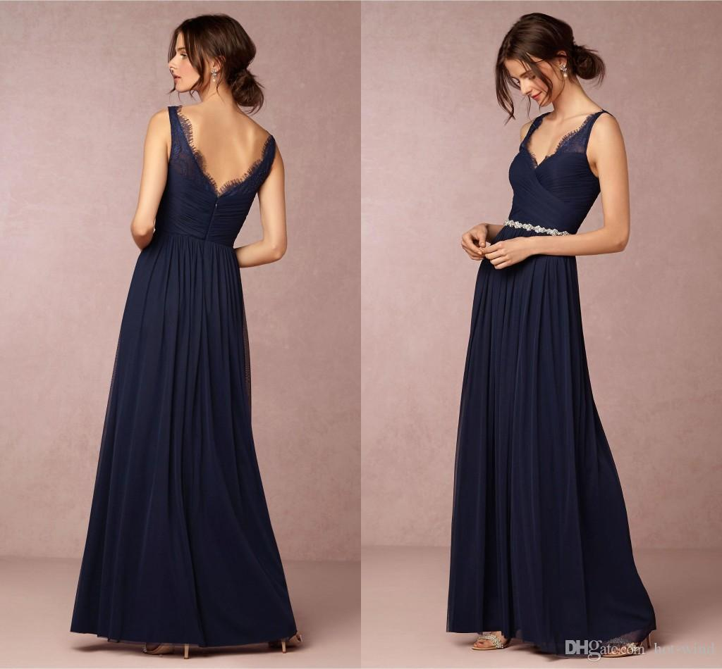 Dark navy straps v neck a line chiffon long bridesmaid dresses dark navy straps v neck a line chiffon long bridesmaid dresses 2018 new elegant lace top sexy low back wedding party guest dress ba2246 watters and watters ombrellifo Images