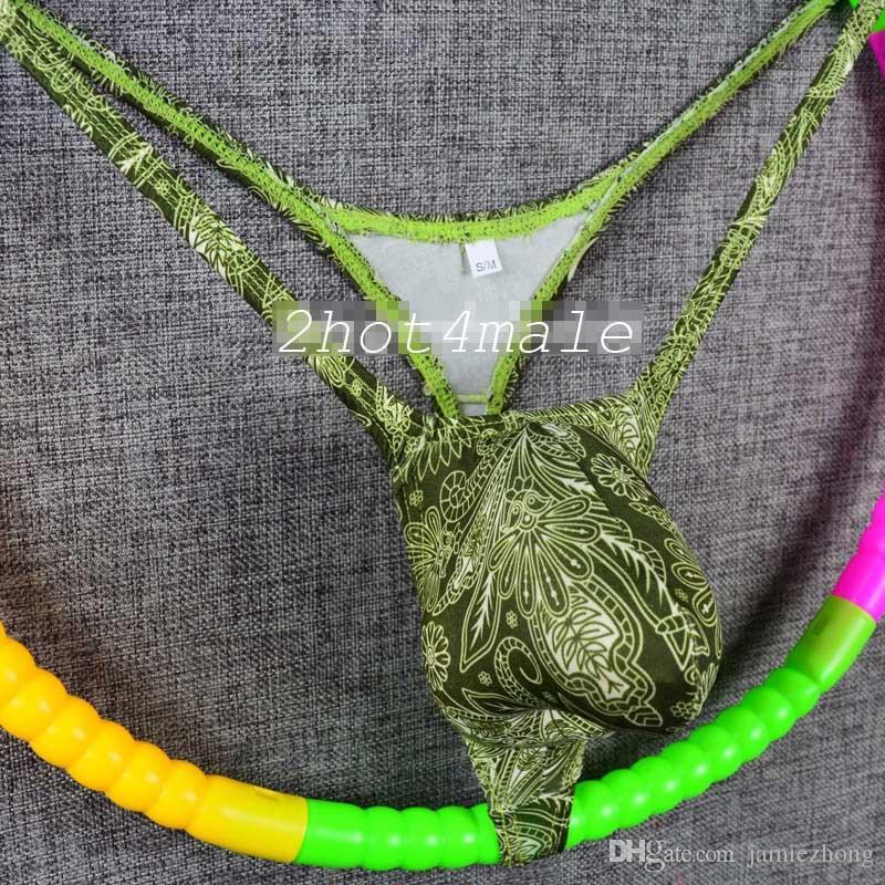 الجديد! ملابس داخلية رجالية ثونغ سلسلة احيط الحقيبة انتفاخ برعم العنب المهربين يطبع بيزلي