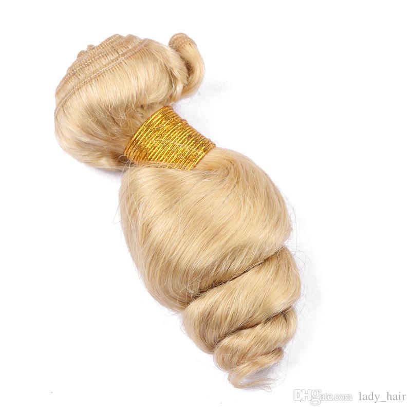 브라질 금발의 인간의 머리카락 Wefts 확장 느슨한 웨이브 물결 # 613 블리치 금발 버진 인간의 헤어 번들 코너 10-30