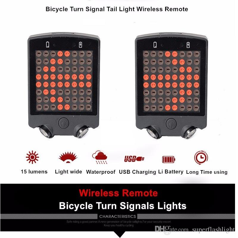 Bicycle Emergency Lights 64 LED Laser Rear Tail Light USB Rechargeable With Wireless Remote Bike Turn Signals Safety Warning Light BLL_60T