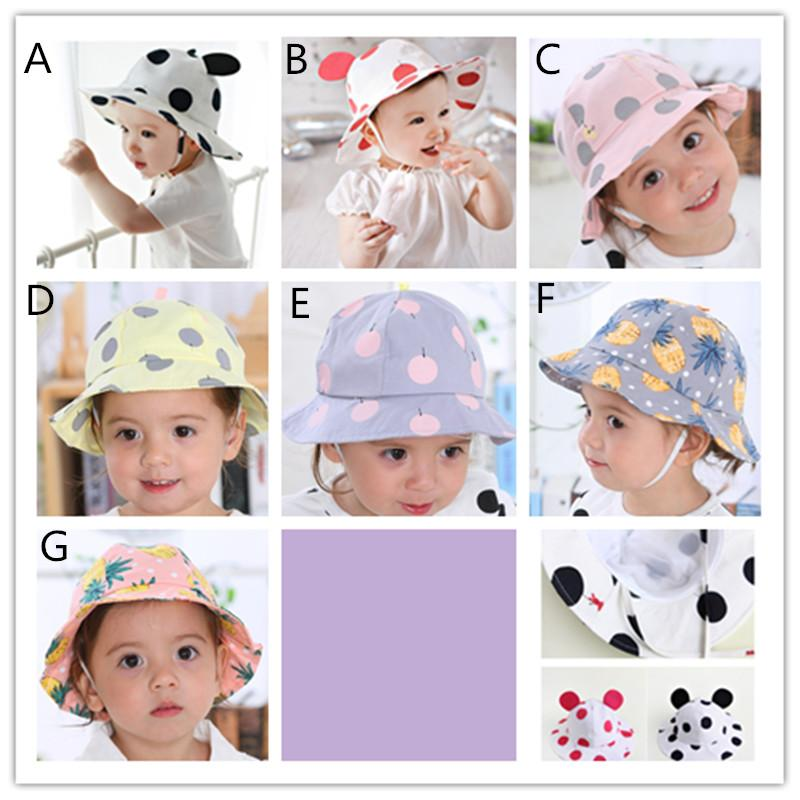 Baby cartoon printing bucket hat infants Dots Balloons Pineapple colorful print sunhats spring summer kids cute fish hat Sun Hat