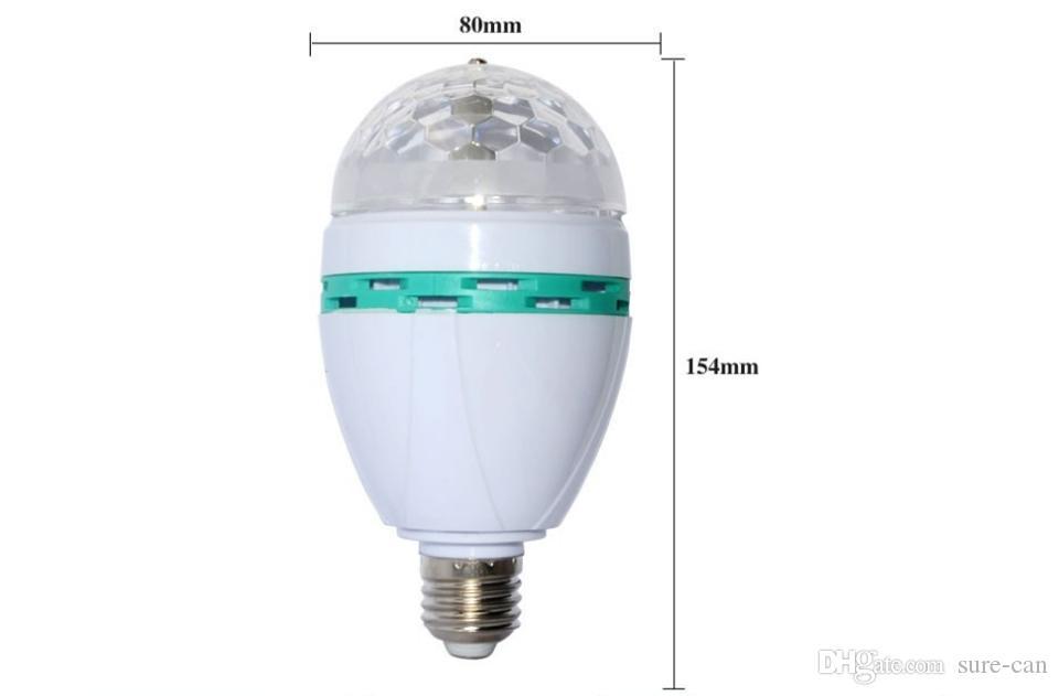 NEUE 3 Watt E27 B22 RGB LED Birne LED Kristall Scheinwerfer Licht AutoVoice 360 grad Drehbühneneffekt DJ lampe mini Bühnenlicht mit Kleinkasten