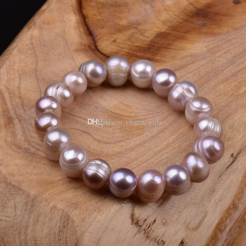100% Moda Blanco / Rosa 8-12mm Natural Agua dulce Pulsera de perla irregular Pulsera con cuentas Pulsera Elástica Bridal Bracelet