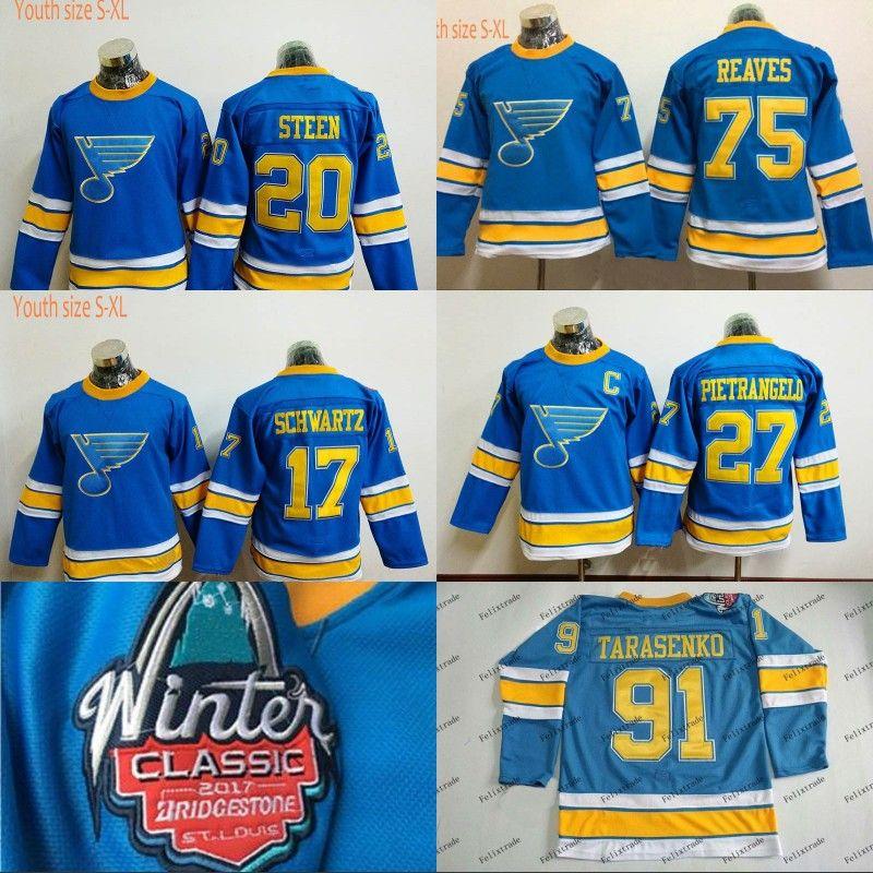 promo code 989ef fbcef Youth 2017 Winter Classic St. Louis Blues 75 Ryan Reaves Jerseys 27 Alex  Pietrangelo 20 Alexander Steen 17 Jaden Schwartz Custom Jerseys