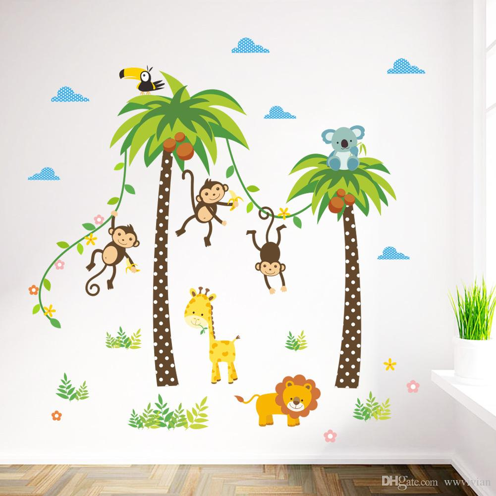 Cartoon Monkey Swing On The Coconut Tree Wall Stickers For Kids Babies Room  Wall Decoration Cloud Grass Bird Elephant Giraffe Wall Mural Art Removable  Wall ... Part 71