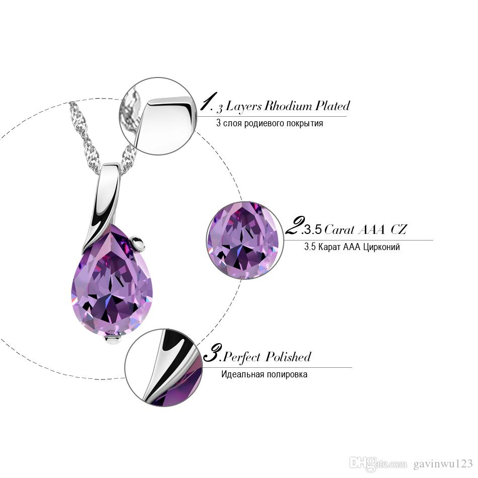 ORSA JEWELS New Design AAA Austrian Cubic Pendant Necklace on Silver Color Purple Zircon Pendant for Women Fashion Jewelry ON39