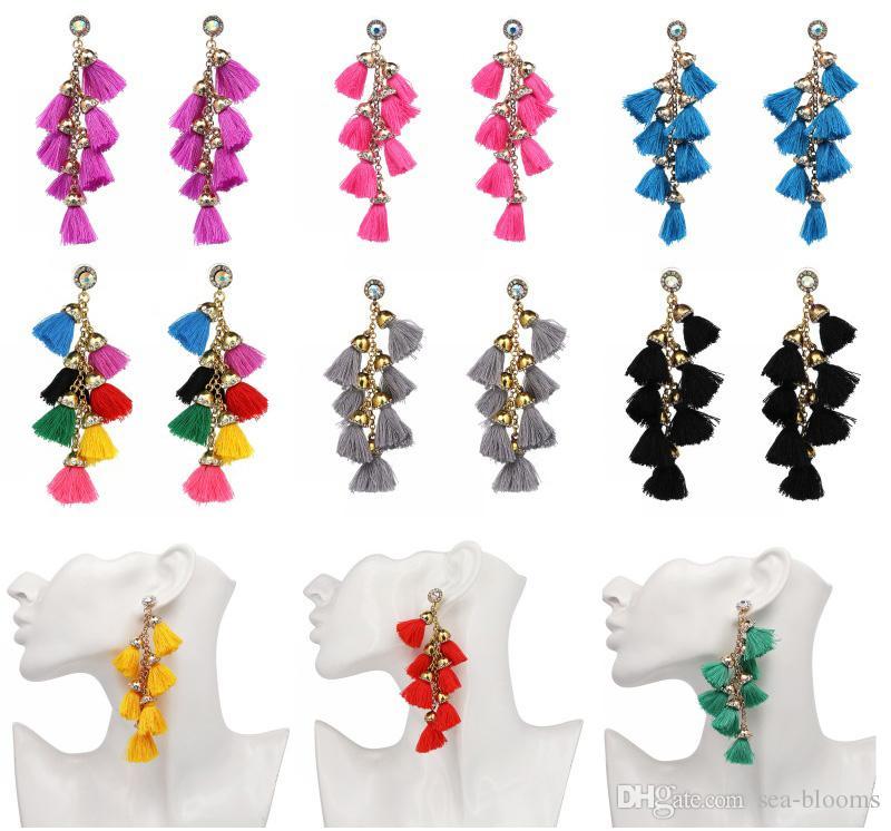 7c75f7911 2019 Multi Tassel Earrings Women Long Earrings Bohemian Rhinestone Bling  Bling Fringe Drop Earr Studs Jewelry Gift B726L From Sea Blooms, $3.34 |  DHgate.Com