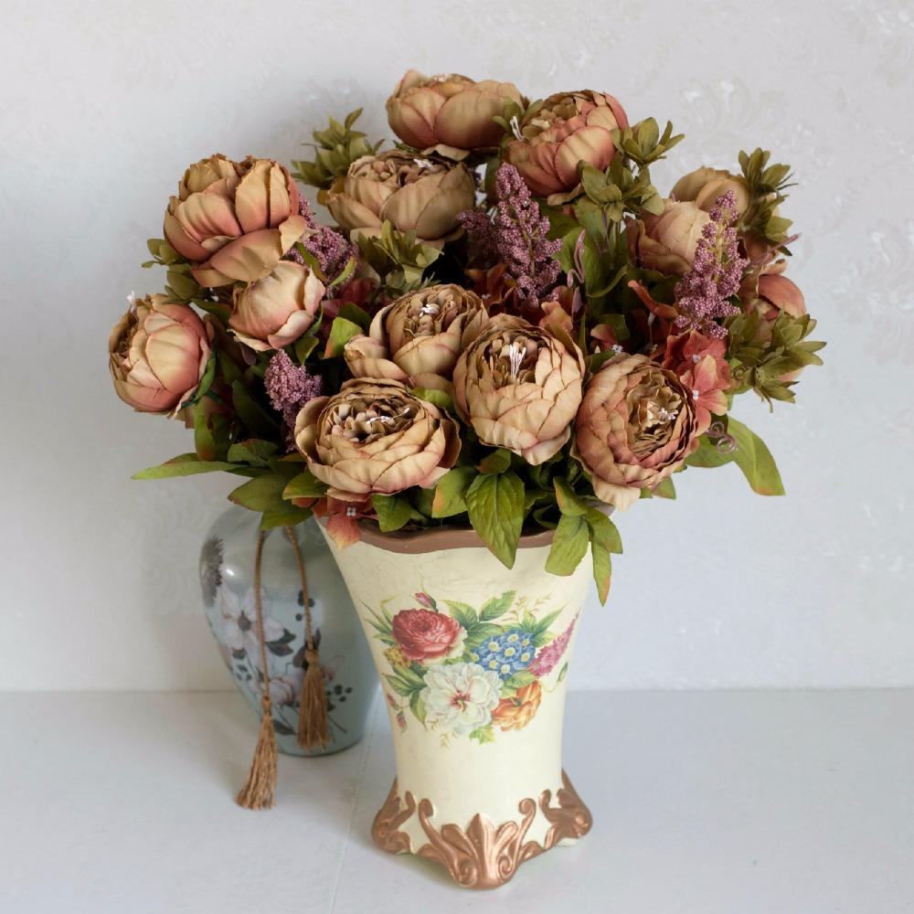 European Style Artificial Peony Silk Flower Fall Vivid Decorative
