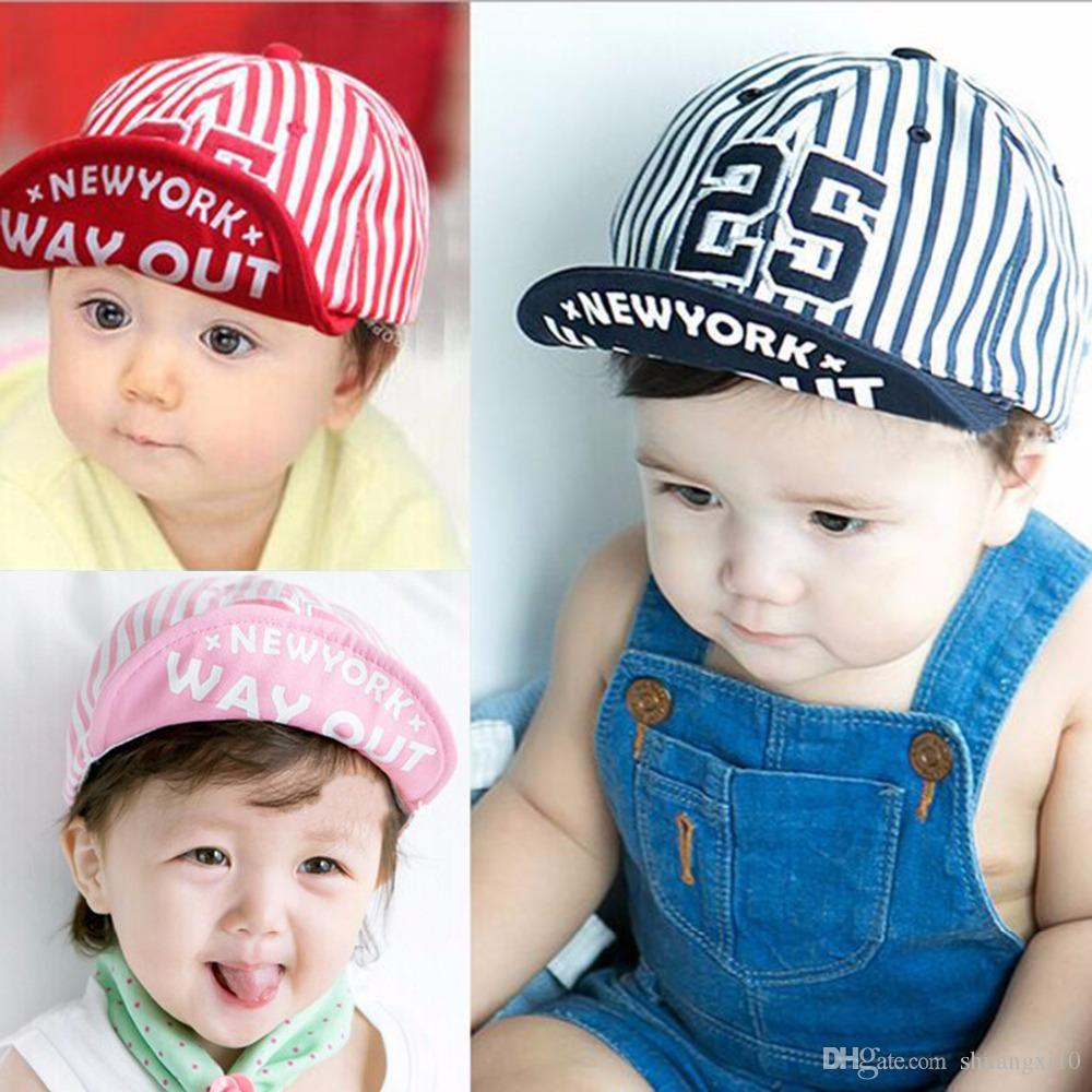 88435a73682 2019 Cute Newborn Baby Hats For Boys Cool Summer Hat Boys Digital 25 Striped  Baseball Cap Toddler Cotton Unisex Sun Caps From Shuangxi10