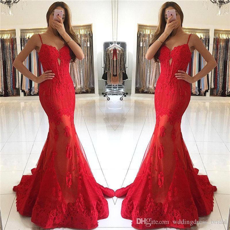 9a8f695cd85e Modest Prom Dresses 2019 Red Lace Mermaid Evening Dresses Spaghetti Straps  Backless Cheap Prom Party Gowns Canada 2019 From Wddingdress_bridal, ...