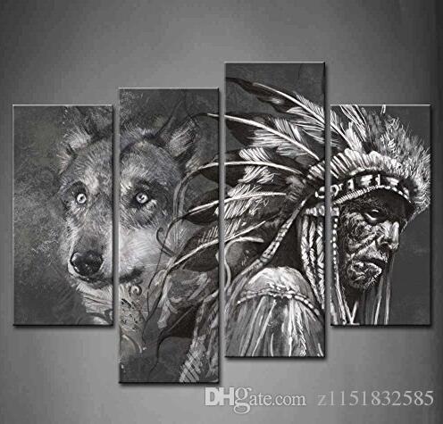 Banmu 4 Feld Der Kunst Blanco Y Negro Lobo E Indios Pintar Die Bilder Impression Tierkunst Bilder Para La Decoración Casera