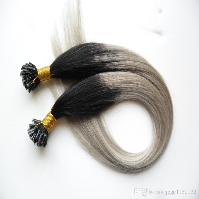 T1b / серебристо-серый наращивание волос 100s человеческих волос fusion extensions U совет 100 г прямой предварительно кабальный ombre наращивание волос кератин