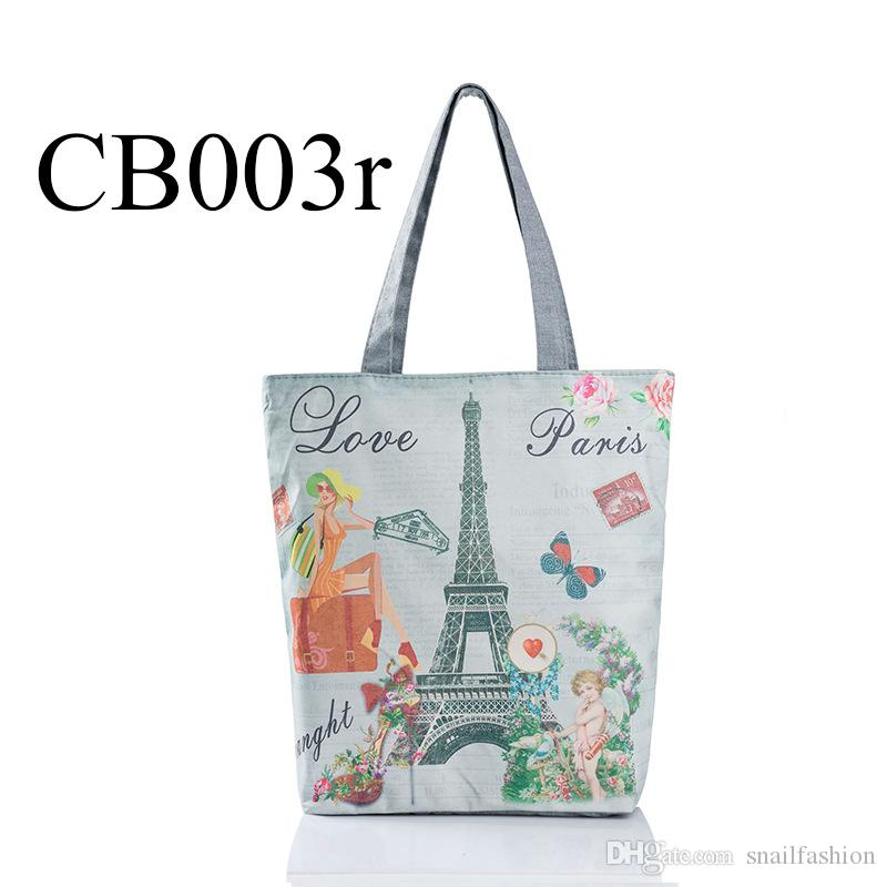 Women Canvas Handbag Pair Tower Printed Beach Bag For Female Single Shopping Bags Casual Woman Canvas Bag Bolsa Feminina