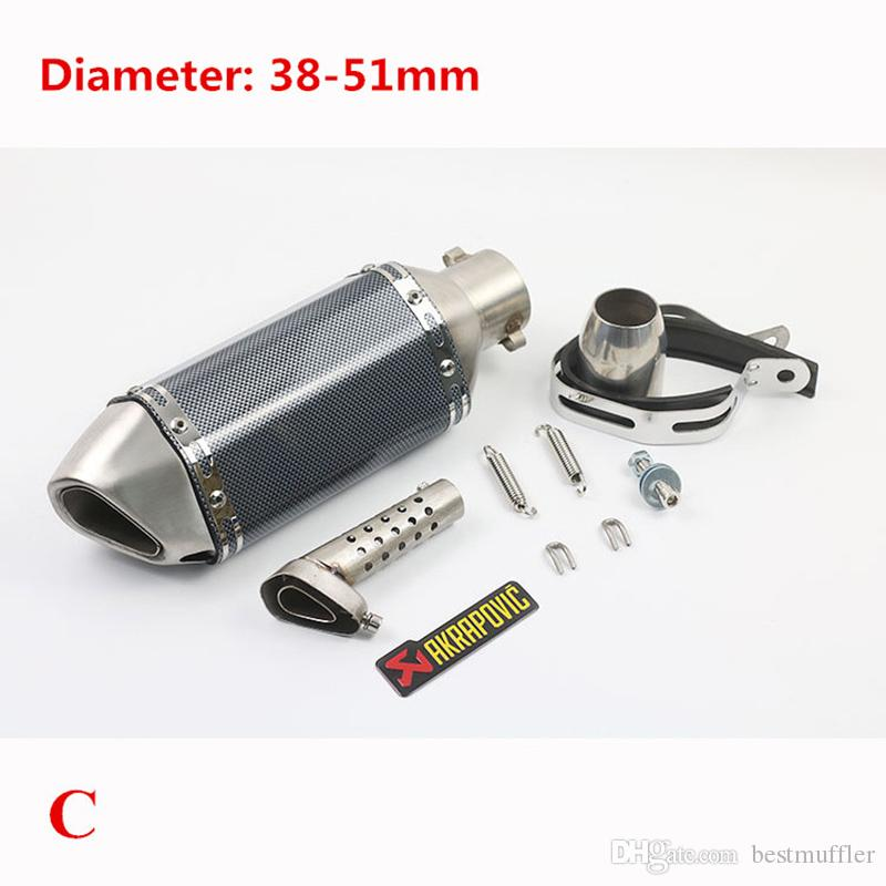 Silenziatore tubo di scarico corto universale moto in acciaio inox W / DB Killer Dirt Street Bike Motorcycle 38-51mm
