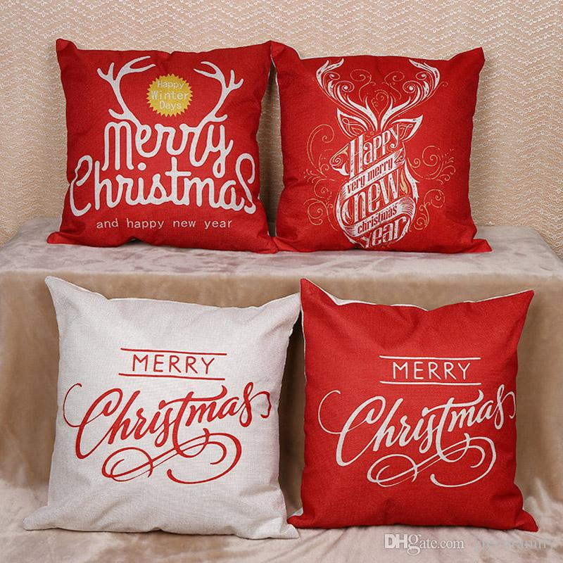 christmas pillow case pillow covers merry christmas happy new year cartoon sofa cushion linen pillow case home decorations pillowcase dimensions white