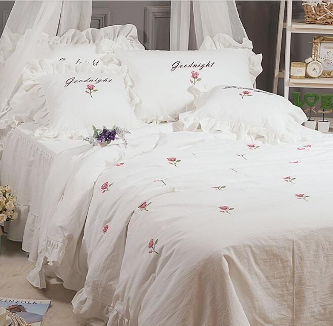Korean princess white flowers Wash cotton embroidery high value bedspread bedding sets pillowcase, bed skirt Duvet Cover