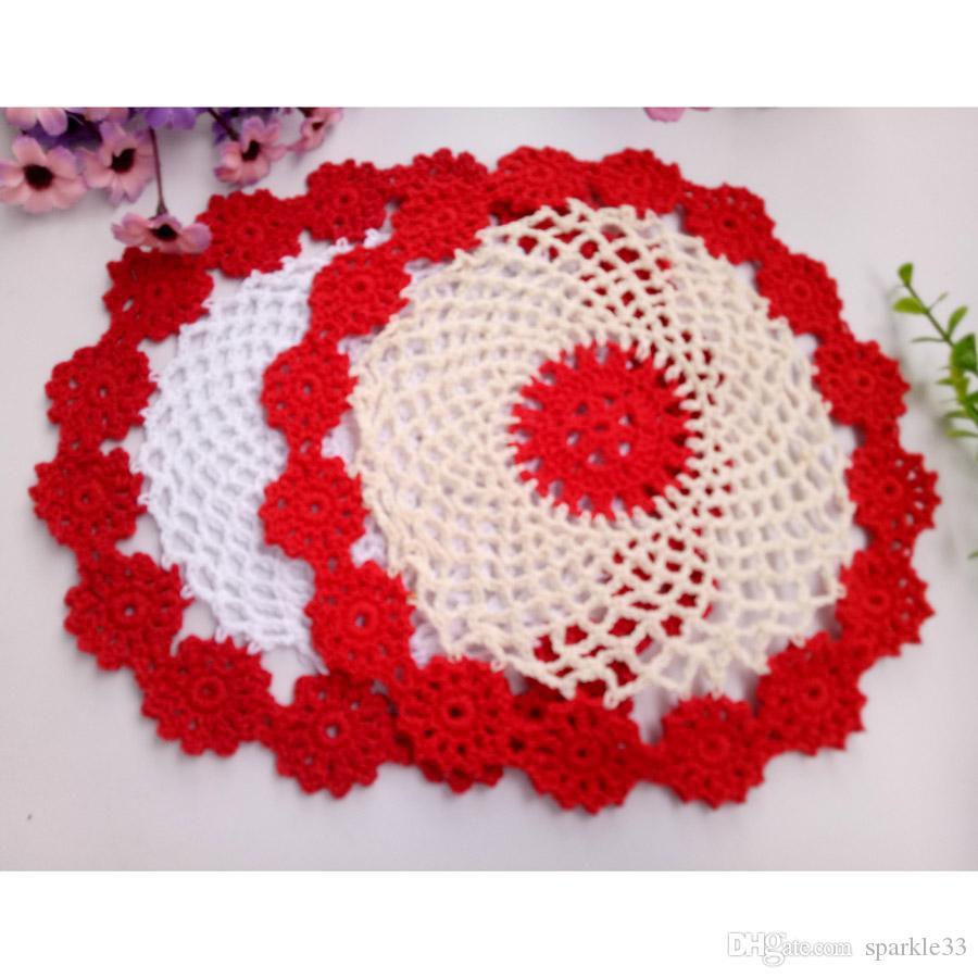 Wholesale DIY Household Handmade Round Flower Table Mat Crochet Doilies Cup Mat 21cm Coaster shooting props Retro