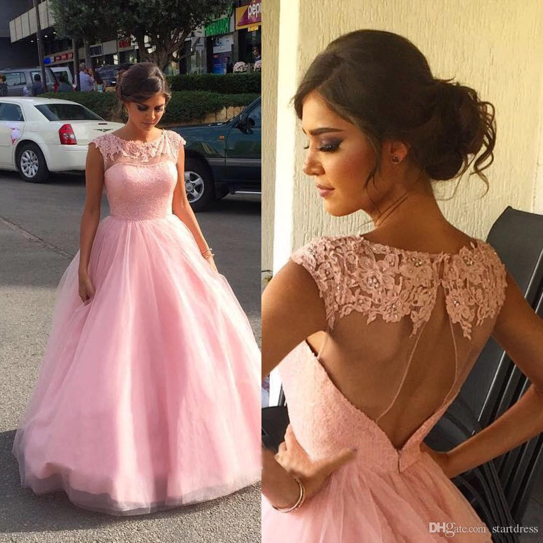 Beautiful Pink A Line Lace Country Evening Dresses Wear Sheer Neck Keyhole Back Long Formal Prom Party Gown 2018 Beaded Cheap Summer vestido
