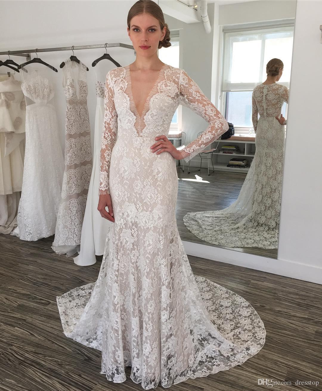 2017 classy lace mermaid wedding dresses with long sleeves for Classy lace wedding dresses