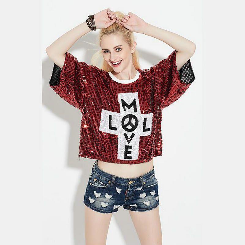 Kadın Bling Payetli T Shirt Camisas Femininas 2017 Ropa Mujer Artı Boyutu Gliiter Bayanlar Ds Caz Hip Hop Kulübü Giyim Tops