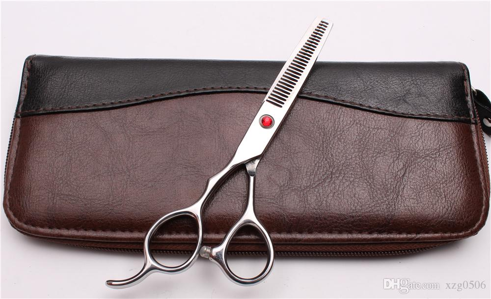 """6"""" Japan 440C Red Stone Customized Logo Left Hand Scissors Professional Human Hair Scissors Barber""""s Hairdressing Shears Styling Tools C8001"""