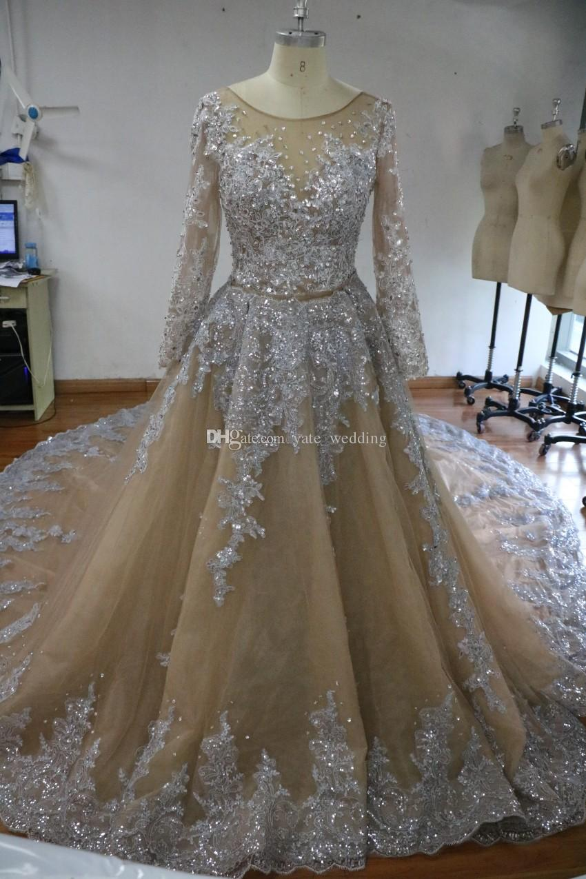 100% Real Image Sparkly Ball Gown Wedding Dresses Sheer Neck Sequins Beaded Tulle Long Sleeves Backless Wedding Gowns Plus Size Bridal Dress