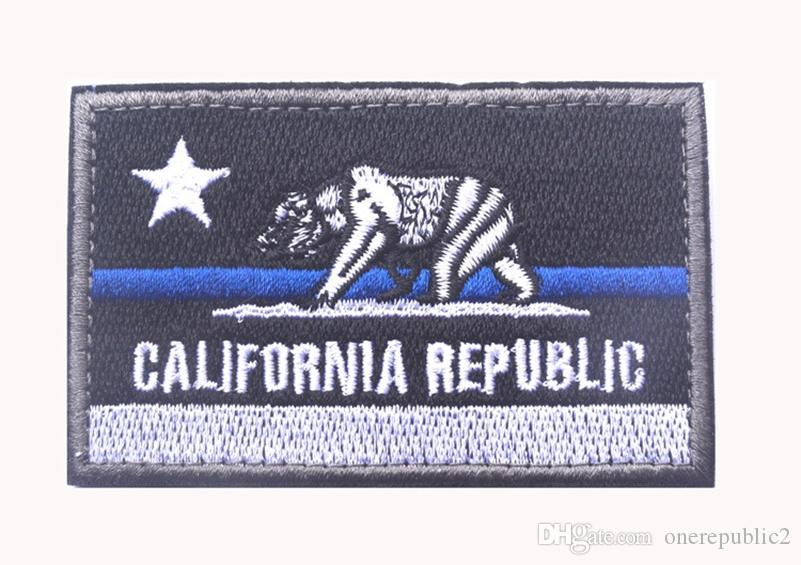 50 pz Ricamato CALIFORNIA REPUBBLICA Stato Patch Stati Uniti Stato Bandiera Patch Tattico 3D Badge Tessuto Bandiera Bracciale Distintivi di Stoffa
