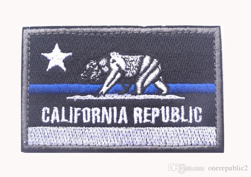 Ricamato CALIFORNIA REPUBLIC Stato Patch Stati Uniti Stato Bandiera Patch Tattico 3D Badge Tessuto Bandiera Bracciale Panno Distintivi libera la nave