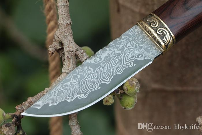 Top Quality Damascus Survival Hunting Knife Color Wood + Copper Head Handle Outdoor Camping Hiking Fixed Blade Knives With Leather Sheath