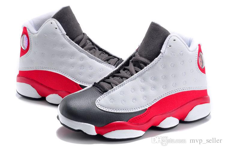more photos 1dd94 38cbf hot new 13 Grey Pink Black White Kids Basketball Shoes Childrens Sports  Shoes 13s Sneakers Cheap Kids Shoes fashion trainer for boys girls