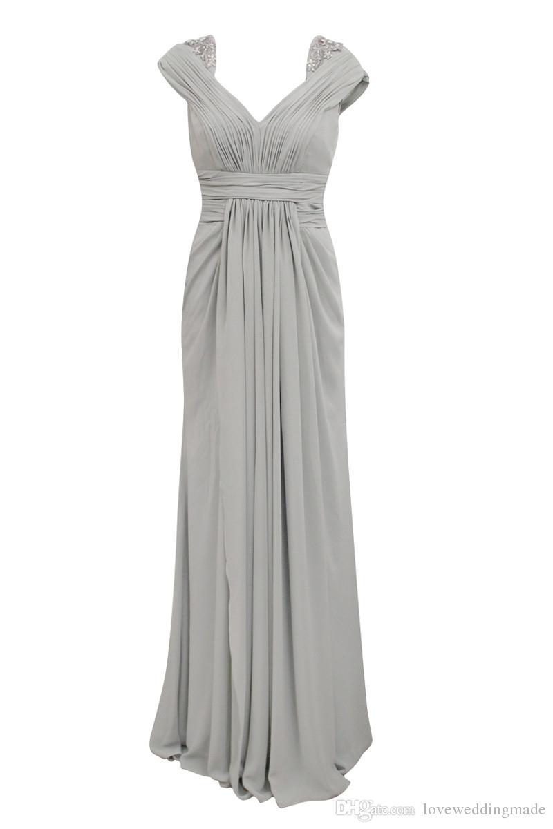 New Silver Chiffon Prom Dresses 2017 Impero Vita V Neck a maniche corte pieghe drappeggiati abiti da sera lunghi vestito da partito formale