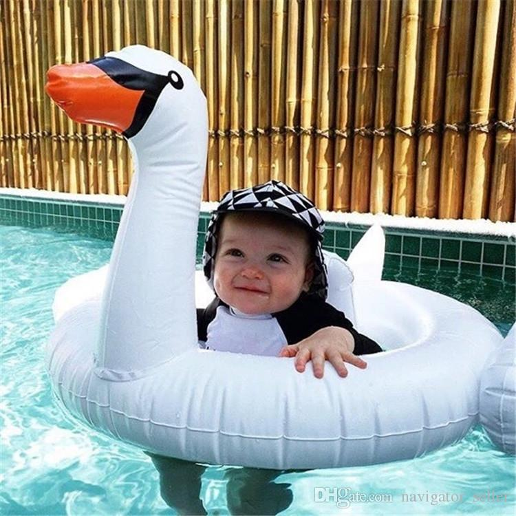 Summer Children's Inflatable Floating Swim Pool Beach Toys Kids Life Buoy Water Sports Baby Swimming Laps Inflatable Floats Flamingos Swan