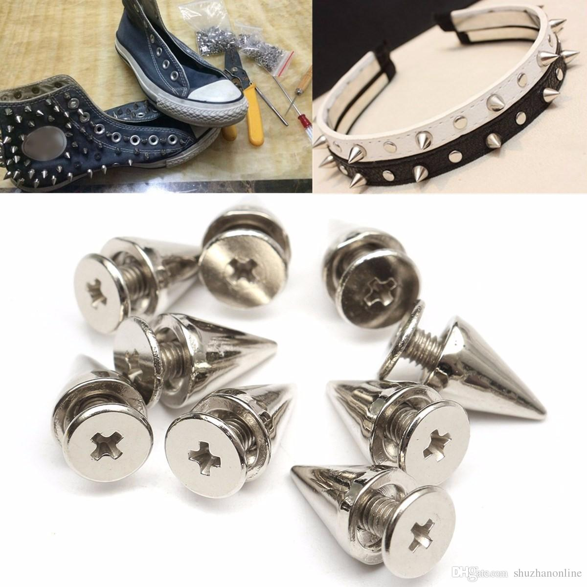 7x10mm Metal Silver Studs Rivet Bullet Spike Cone Screw For Leather Craft