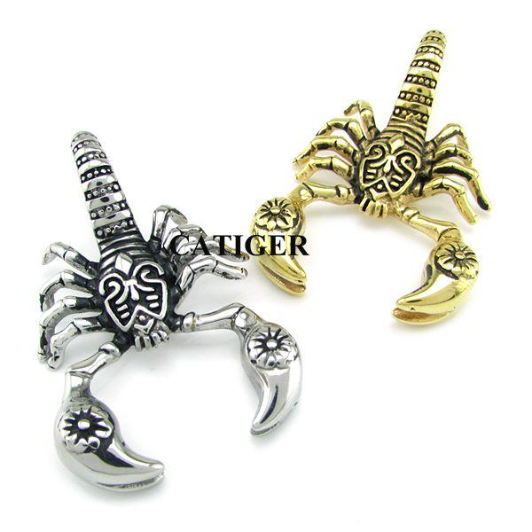 Punk 24K Gold Plated Scorpion Pendants Necklace 316L Stainless Steel Necklace Animal Scorpions Men Jewelry scorpio Insect Pendant Chain free