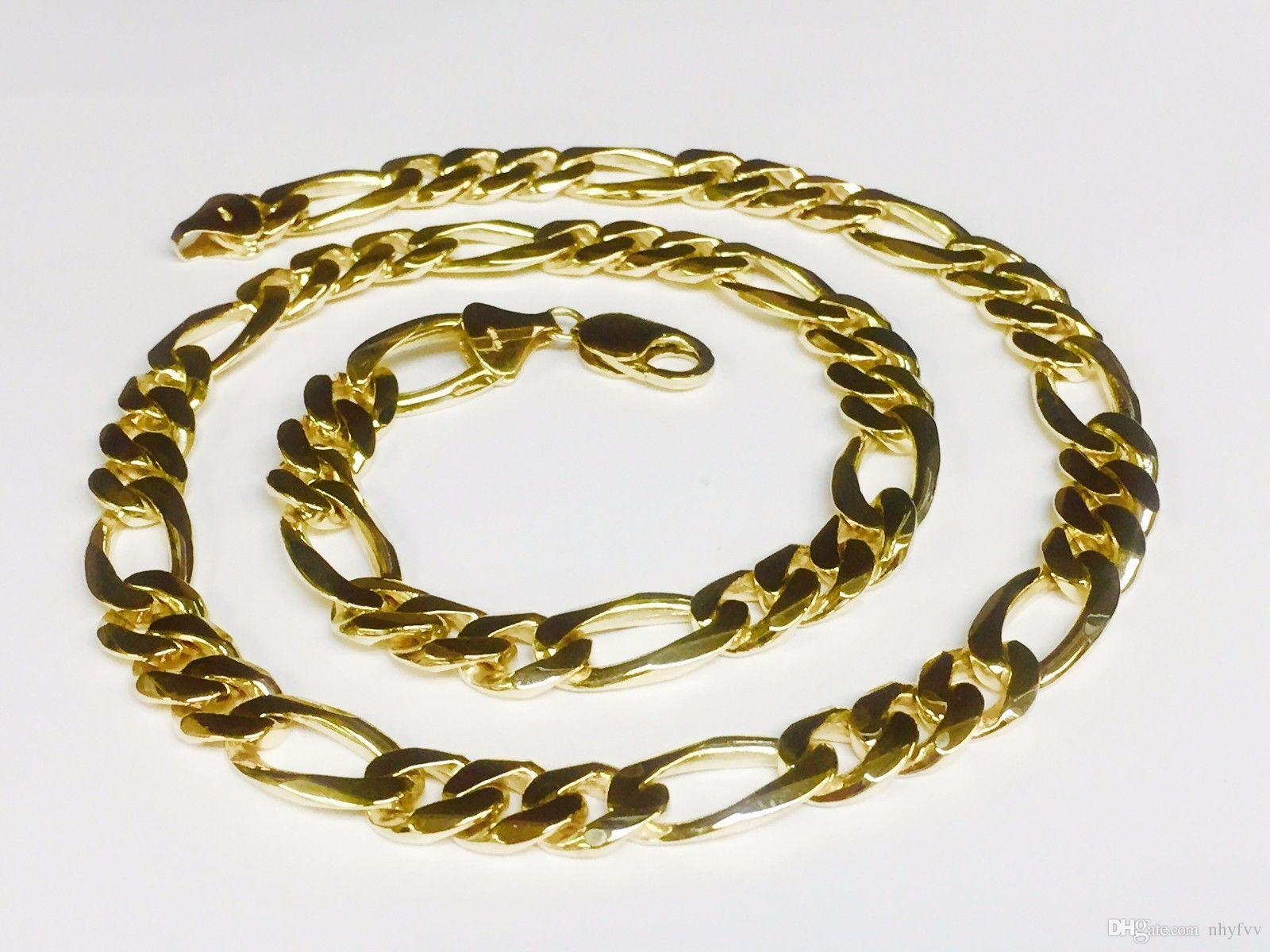 miami cuban chains steel com dp chain yellow solid heavy gold amazon link finish stainless