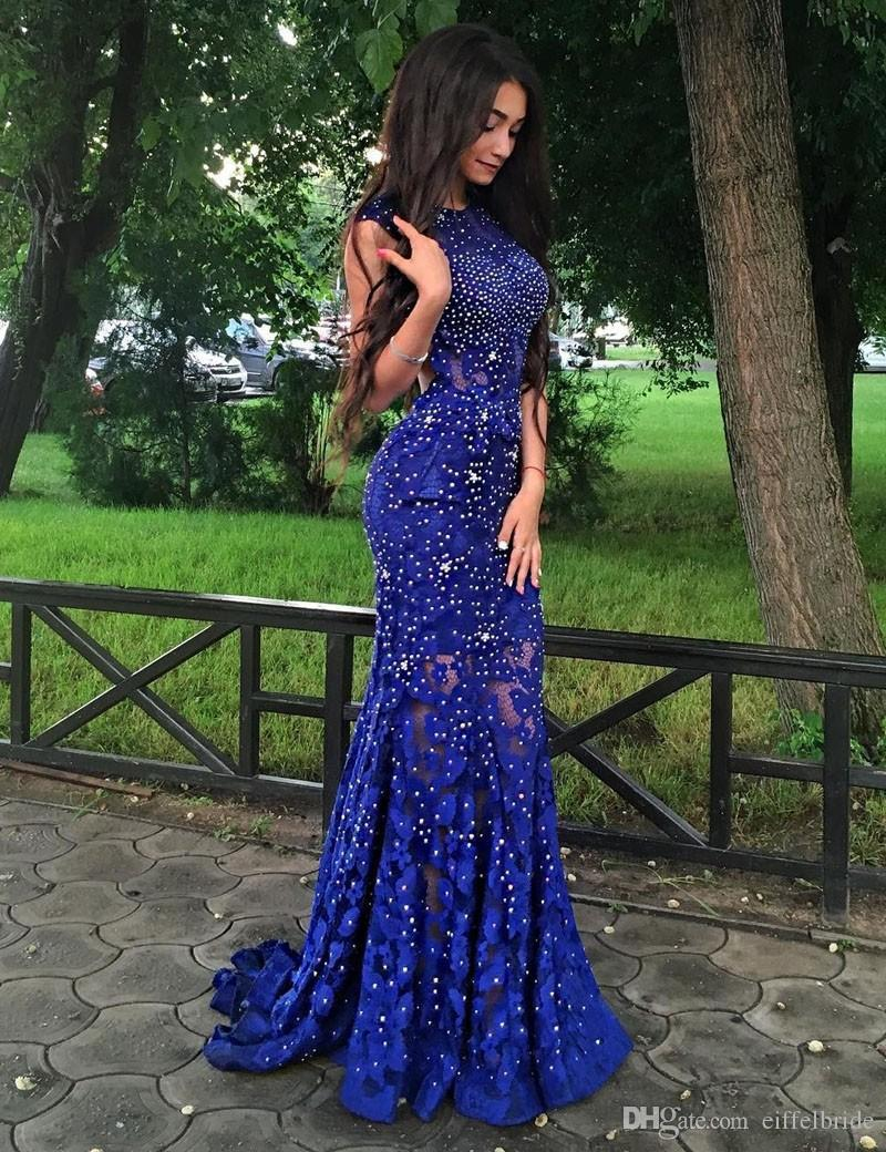 2017 Moda Suknie Wieczór Nosić Sexy Sheer Bling Frezowanie Koronki Klejnot Neck Elegant Illusion Royal Blue Mermiad Otwórz Back Bal Sukienka Długo