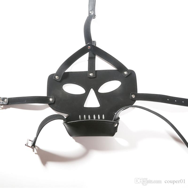 New Leather Bondage harness Headgear mask black gost sm games adult sex toys men leather harness bdsm mask sex dice sex product