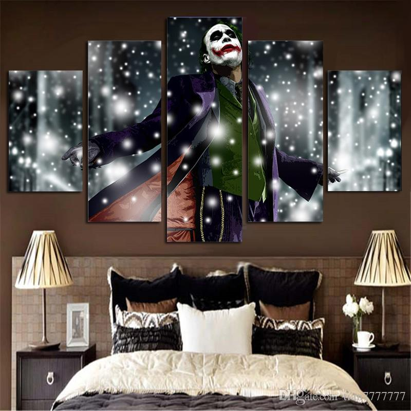 New 5 Pieces Wall Picture Hanging decorations The Clown in the Snow Painting On Canvas Frameless Free Shipping