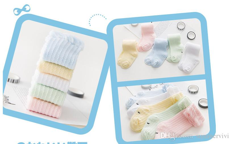 Baby socks Infant girls candy color princess socks babies stripe cotton socksing summer new toddler kids ruffle hollow out stockings T4435