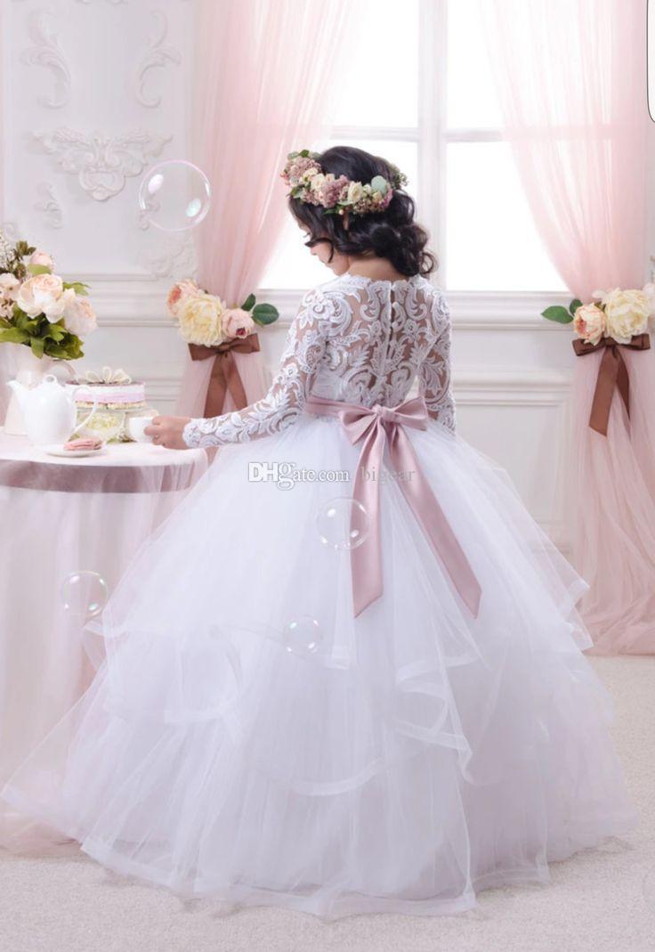 Vestido de niña de las flores de manga larga Vestido de comunión con faja de cinta