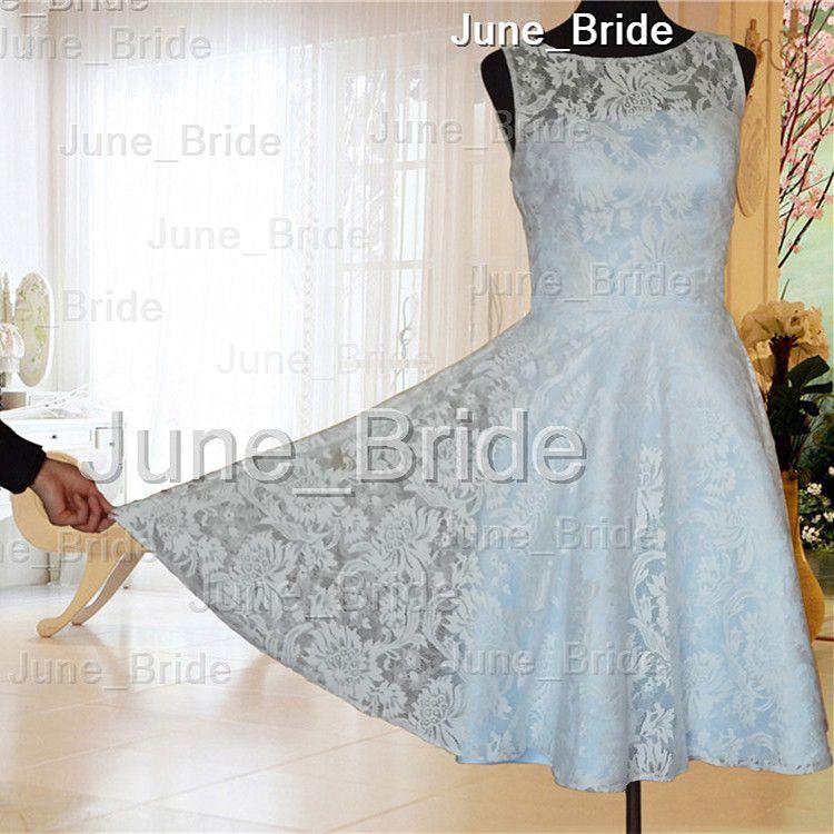 Romantic Short Sleeveless Lace Wedding Dresses Real Photo Light Blue ...