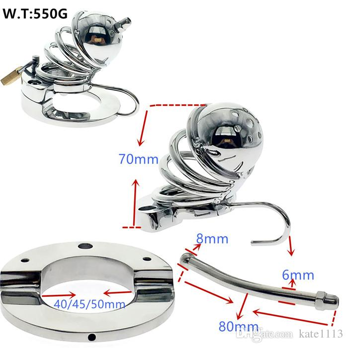 2017 latest design chastity device penis sleeve cock cage ball stretcher Bondage sex toys for male 073
